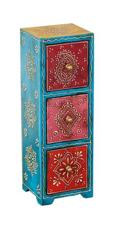 Fair Trade Tall Cassidy 3 Drawer Jewelry Box Column set of three mango drawers Painted Wooden Boxes, Funky Painted Furniture, Paint Furniture, Furniture Makeover, Rustic Furniture, Outdoor Furniture, Wood Box Decor, Wood Boxes, Meubles Peints Style Funky