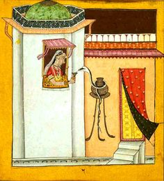 Ragini with snake (Ahiri Ragini ?).  Basohli or Mankot, Kathua / Chamba District, Jammu and Kashmir/Himachal Pradesh, India Date: ca 1700 CE