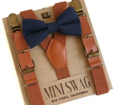 Navy Bow Tie and Leather Suspenders Ring Bearer Outfit
