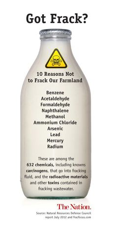 10 good reasons not to frack!  Not to mention the amount of water that is being pumped with these chemicals...precious water that WE need.