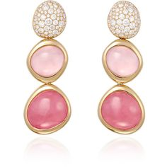 FRED Belles Rives Earrings in Pink Gold, with White Diamonds,... ($15,250) ❤ liked on Polyvore featuring jewelry, earrings, pink quartz earrings, fred jewelry, pink jewelry, long earrings and pink gold jewelry