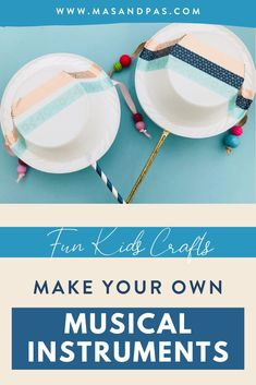 Learn how to make your own DIY musical instruments that are perfect for kids! This easy craft tutorial will show you how to make African style hand drums out of simple household items, including paper bowls, ribbons, straws, and hot glue. The hand drum activity is a great way to get your toddler or young child busy and start them on their music journey early! #drumcraft #DIYinstruments #musicalinstrumentcraft #musicforkids #easykidscrafts Fun Activities For Toddlers, Fun Crafts For Kids, Educational Activities, Toddler Crafts, Diy For Kids, Instrument Craft, Musical Instruments, Drums For Kids, Drum Craft