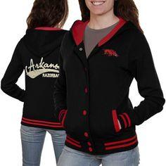 Arkansas Razorbacks Ladies Varsity Blues Full Button Hoodie - Black