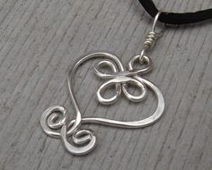 Celtic Heart Sterling Silver Wire Pendant - Celtic Necklace - Celtic Jewelry - Heart Necklace- Celtic Knot