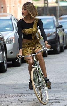 Jourdan Dunn rides a bike