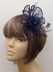 New Navy Blue Hair Fascinator Clip Brooch Pin Weddings Races Ladies Hen  Nights  5ef26434909