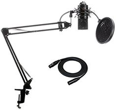Amazon.com: MXL 770 Condenser Microphone with Knox Suspension Boom Arm Stand and Pop Filter: Musical Instruments