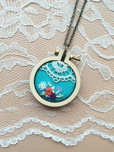 Hand Embroidered Mini Embroidery Hoop Necklace With Vintage Lace Trim: Teal by PlaidLoveThreads on Etsy