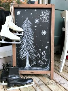 Cottage Christmas Front Porch Ideas - Cottage in the Oaks Christmas chalkboard art on front porch Cottage Christmas, Christmas Porch, Christmas Signs, Winter Christmas, All Things Christmas, Christmas Time, Christmas Crafts, Christmas Decorations, Country Christmas