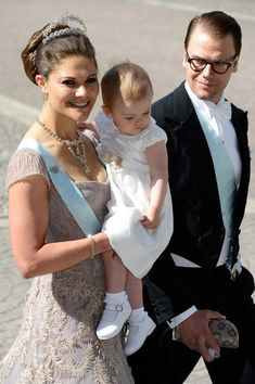 (L-R) Crown Princess Victoria of Sweden, Princess Estelle of Sweden and Prince Daniel of Sweden attend the wedding of Princess Madeleine of Sweden and Christopher O'Neill hosted by King Carl Gustaf XIV and Queen Silvia at The Royal Palace on June 8, 2013 in Stockholm, Sweden.