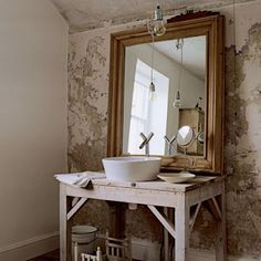 Like the concept-Maybe have fabric skirt under sink or tall baskets. Paint or wallpaper wall behind mirror.