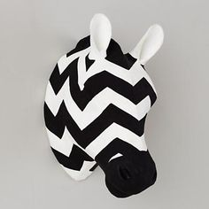 Chevron paper mache zebra wall decor.