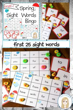 Spring Splash Sight Words Bingo Game - Set 0 : First 25 Sight Words Sight Word Bingo, Sight Words List, Bingo Set, Bingo Games, Teacher Helper, Calling Cards, Reading Resources, Game Pieces, Literacy Centers