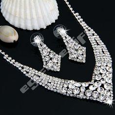 Silver Plated Crystal Rhinestone Prom Necklace + Stud Earrings Set   eBay