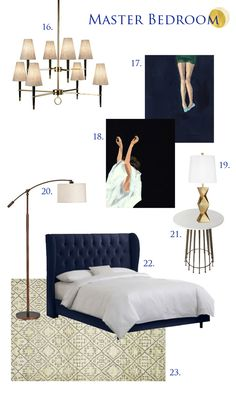 Curbly's makeover Master Bedroom Resources: 16. Lamps Plus Chandelier | 17. Clare Elsaesser Artwork | 18. Clare Elsaesser Artwork | 19. Lamps Plus Lamp | 20. Lamps Plus Floor Lamp | 21. Blue Ocean Traders Side Table | 22. Target Brompton Tufted Wingback Velvet Bed | 23. Loloi Rug