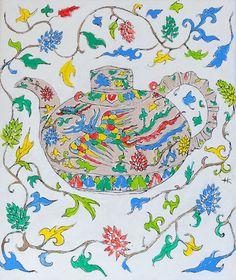 Ming style teapot by KateKennedyArt on Etsy, $50.00