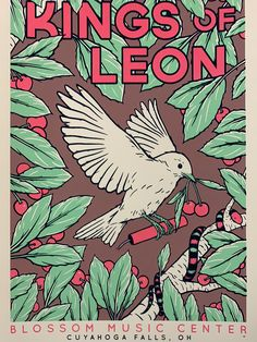 Screen Print Poster, Poster Wall, Poster Prints, Room Posters, Band Posters, Blossom Music Center, Cuyahoga Falls, Kings Of Leon, Picture Wall