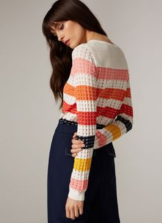 Uterqüe United Kingdom Product Page - Ready to wear - Knitwear - Striped openwork sweater - 75