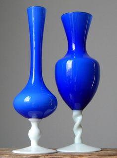 2xVintage 60-70s OPALINE EMPOLI COBALT Glass Vase/s Set Italian Art Fat Lava Era #OPALINEEMPOLI