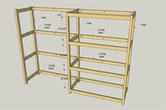 I built these shelves to create some heavy-duty storage in my garage. they're super easy to build--just some boards, plywood, and a Kreg Jig. Garage Storage Shelves, Garage Shelf, Basement Storage, Shed Storage, Diy Garage, Garage Ideas, Wooden Shelves, Floating Shelves, Bookshelves