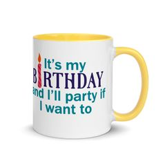 Birthday Mug-It's my party,-Age is just a number birthday mug #humor #gift #BirthdayCelebration #mug #ColofulBirthday #HappyBirthday #OverTheHill #birthday Birthday Mug, Birthday Gifts, Happy Birthday, Fun Christmas Party Ideas, Christmas Fun, Colorful Birthday, Over The Hill, Favorite Candy, Gift Certificates