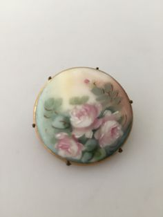 EDWARDIAN Porcelain PIN Antique Hand Painted by thepopularjewelry