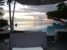 La Pita Resort, Huahine, French Polynesia Sunset next to the pool