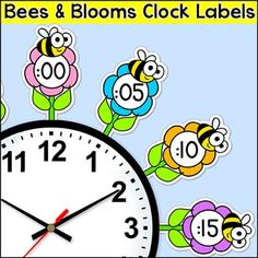 by Pink Cat Studio Garden Theme Classroom, Classroom Clock, Teacher Classroom Decorations, Classroom Themes, Clock Labels, Growth Mindset Classroom, Teaching Clock, Bee Theme, Telling Time