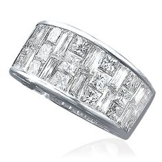 Cellini Jewelers  Crisscut and Princess Cut Band Set in platinum, this unique band is composed of 2.67 carats of crisscut and princess cut diamonds.