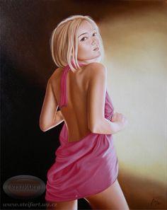 Dívka v růžové, olej, plátno, 50 x 40 cm
