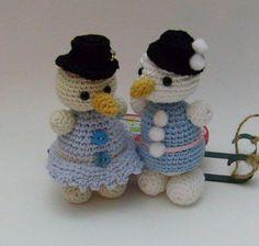 Schneemann und Schneefrau häkeln Freeby