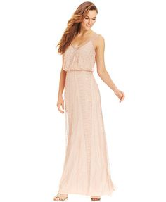 Bridesmaid dress  Adrianna Papell Illusion Beaded Blouson Gown