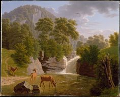 Mountain Landscape with Deer at a River