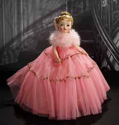 """American """"Maid of Honor"""" by Madame Alexander from the Rare 1960 Portrait Series Vintage Madame Alexander Dolls, Tulle Gown, Blonde Wig, Pink Tulle, Long Lashes, Vintage Dolls, Antique Dolls, Antique Lace, Maid Of Honor"""