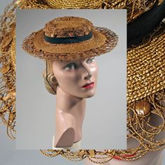 Snappy Vintage 1930s 1940s Straw Tilt Hat