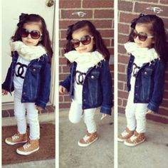toddler outfit, black and white, denim jacket, scarf, shades, sneakers