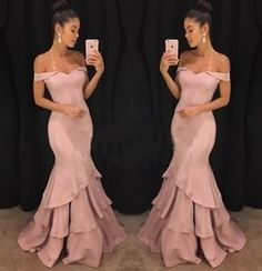 Elegant Off Shoulder Sexy Prom Dresses Tiered Ruffles Sweep Train Long Formal Gowns Mermaid Evening Dresses,Floor Length Evening Dresses,Zipper Women Party Gowns,Prom Dresses,Evening Gowns Prom Dresses Long Pink, Long Formal Gowns, Prom Dresses 2018, Formal Dresses, Prom Dreses, Dresses 2016, Special Dresses, Bride Dresses, Dress Prom