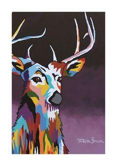Mini McCoo Collection - Tam MacDeer Print or Framed - Steven Brown Art - Stephen Brown, Steven Brown Art, Psychedelic Art, Painting & Drawing, Deer, Moose Art, Illustration Art, Paintings, Drawings