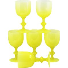 6 French Portieux Vallerysthal PV yellow opaline glass Water Goblet Wine Glasses