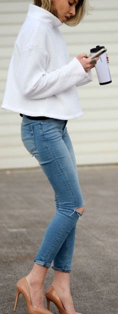 Minimal White With High Neck Top