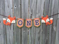 Fox ONE Banner  Orange and Green  Woodland by DanitasBoutique
