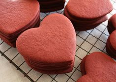 Red Velvet Roll-Out Cookies - Birthday Cupcake Ideen Roll Cookies, Cut Out Cookies, Iced Cookies, Royal Icing Cookies, Cookies And Cream, Heart Cookies, Summer Cookies, Red Velvet Cake, Red Velvet Cookies