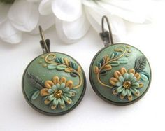 Summer Wind Polymer clay earrings Handmade by DellineDesigns