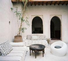 handira as pillows and divan covers. lonny magazine, august interior design by riad el finn. Home Design, Design Hotel, Patio Design, Design Ideas, Garden Design, Courtyard Design, Moroccan Design, Moroccan Decor, Moroccan Style