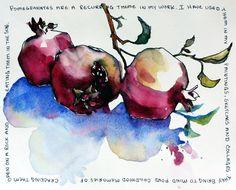 Brenda Swenson: sketching with watercolor Watercolor Fruit, Pen And Watercolor, Watercolor Flowers, Watercolor Paintings, Watercolours, Watercolor Sketchbook, Art Sketchbook, Fashion Sketchbook, Urban Sketching
