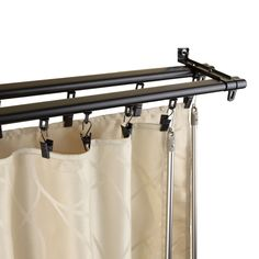Shop for InStyleDesign Regal Black Adjustable Double Curtain Rod Track. Get free delivery On EVERYTHING* Overstock - Your Online Home Decor Outlet Store! Window Treatment Store, Window Coverings, Window Treatments, Ceiling Curtain Track, Ceiling Curtains, Cheap Curtain Rods, Shower Curtain Rods, Curtain Poles, Double Rod Curtains