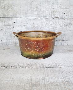 Brass Bowl Vintage Brass Planter Embossed Planter Garden Container Brass Succulent Planter Succulent Pot Gold Planter Brass Flower Pot by TheDustyOldShack on Etsy