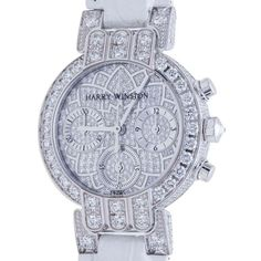 Harry Winston Pre-owned Harry Winston Ladies 18K White Gold Diamond... (€29.275) ❤ liked on Polyvore featuring jewelry, watches, 18k watches, diamond jewelry, white gold watches, 18k bracelet and buckle watches