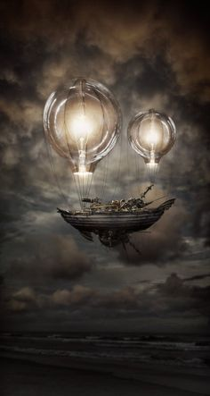Flying ship lifted by light #art