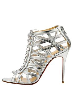 Christian Louboutin Silver Ankle Boot Sandal Spring Summer 2014 #CL #Louboutins #Shoes